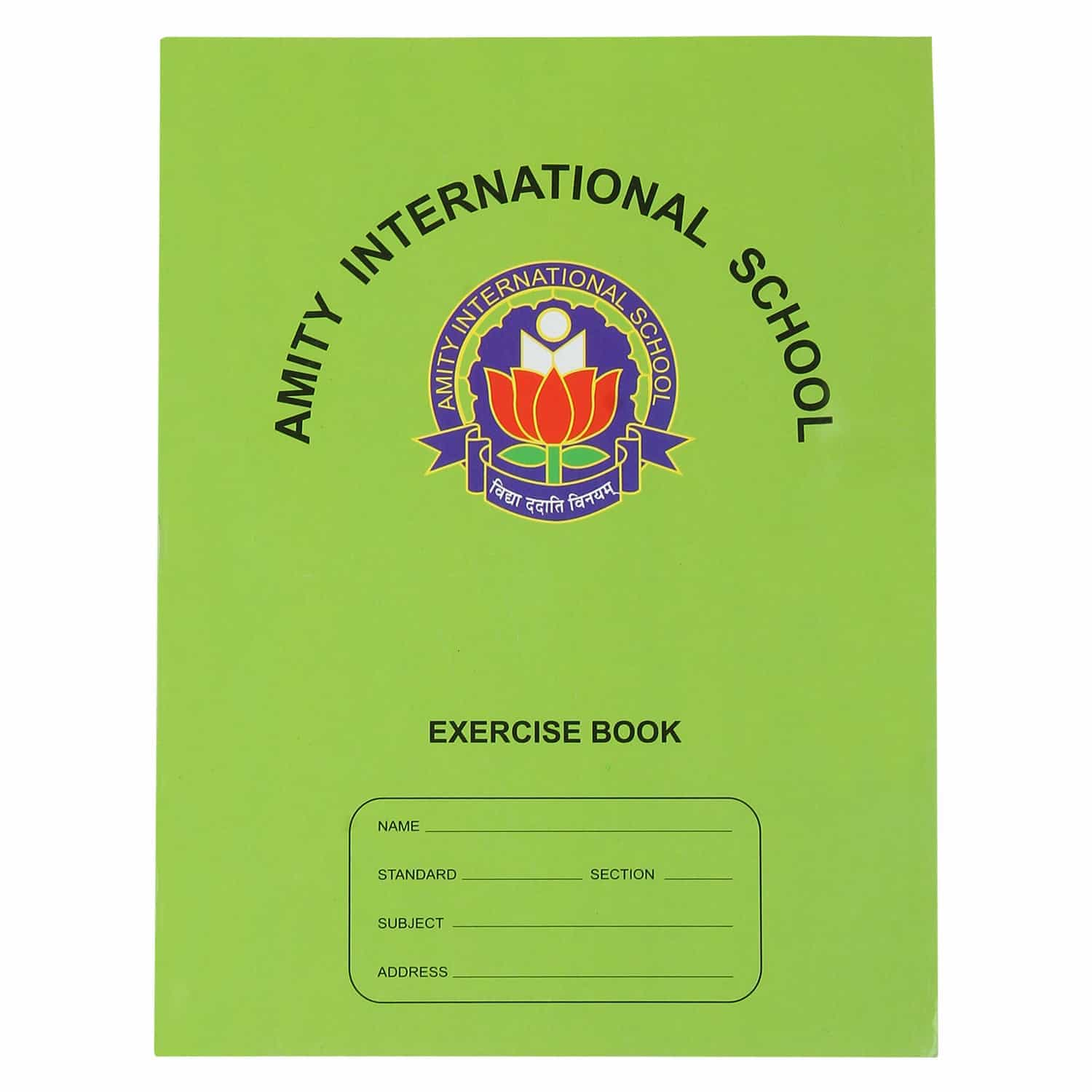 Amity Green Single Line Interleaf Notebook - 96 Pages