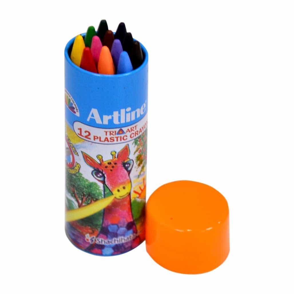 Artline Triangular Plastic Crayons - 12 Shades