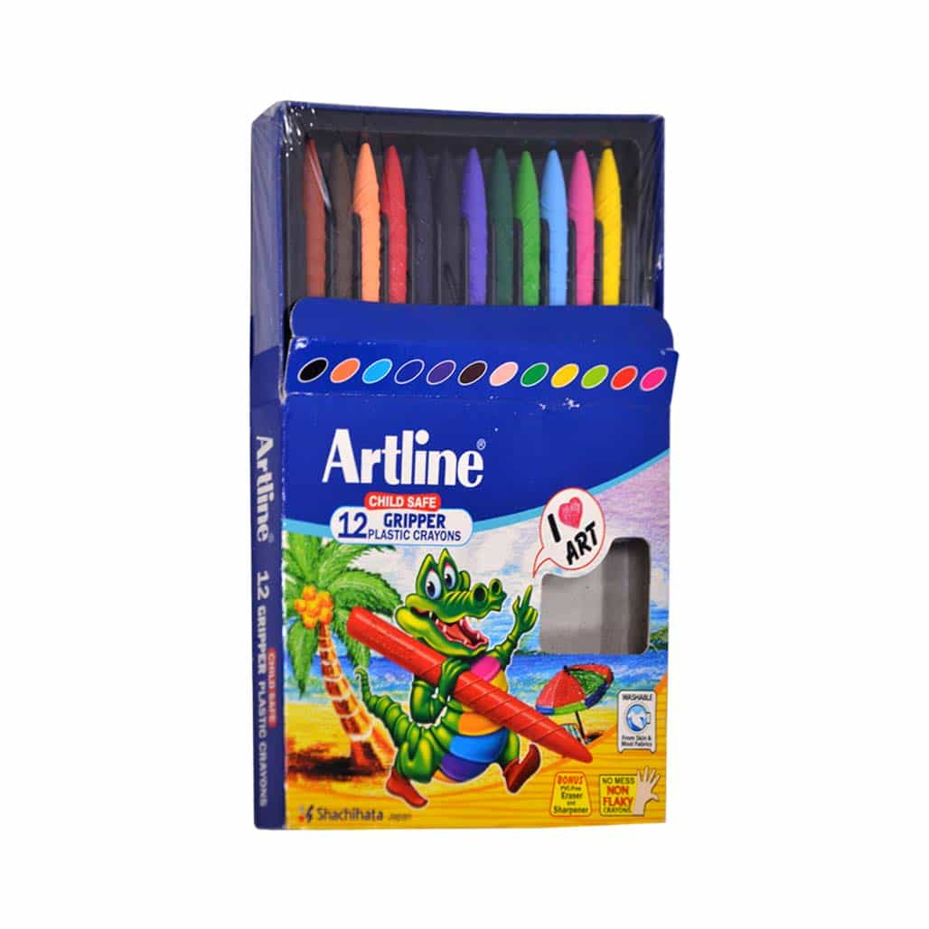 Artline Gripper Plastic Crayons - 12 Shades