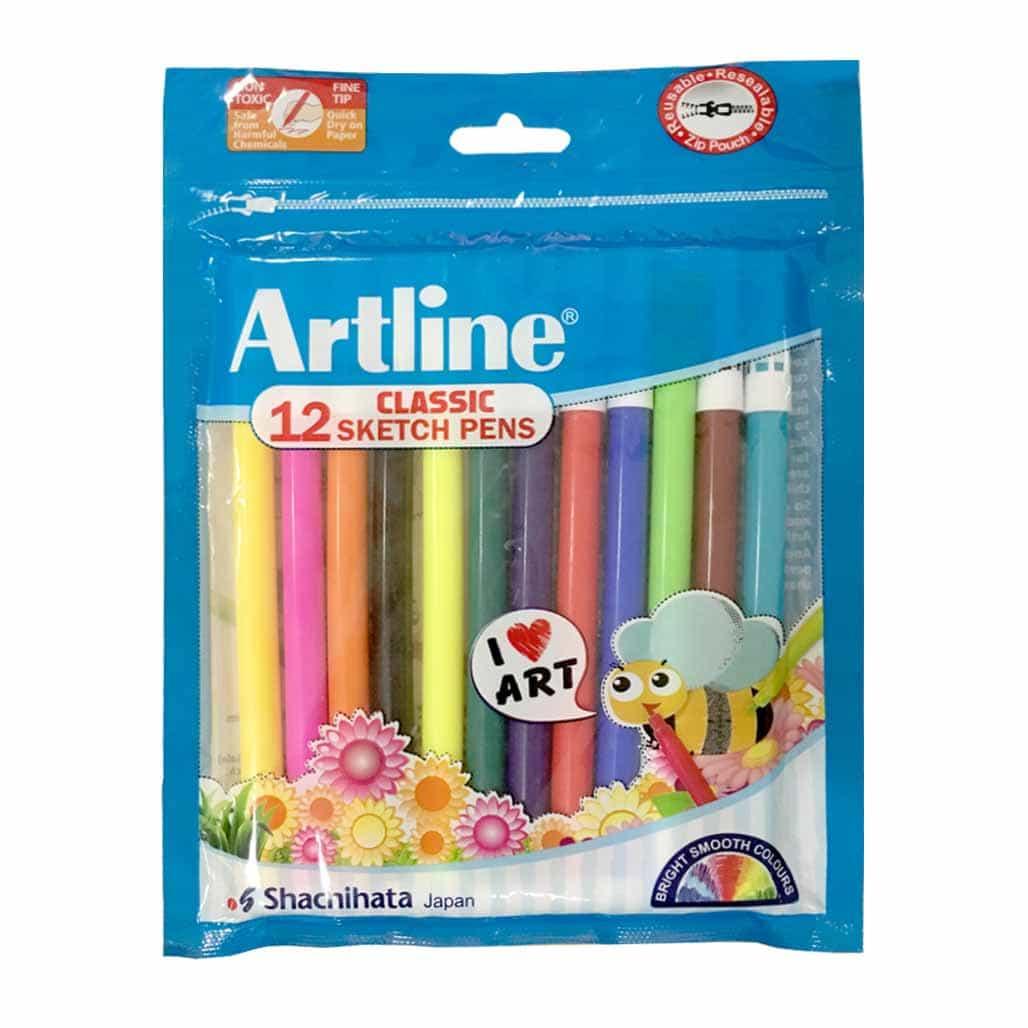 Artline Classic Sketch Pens - 12 Shades