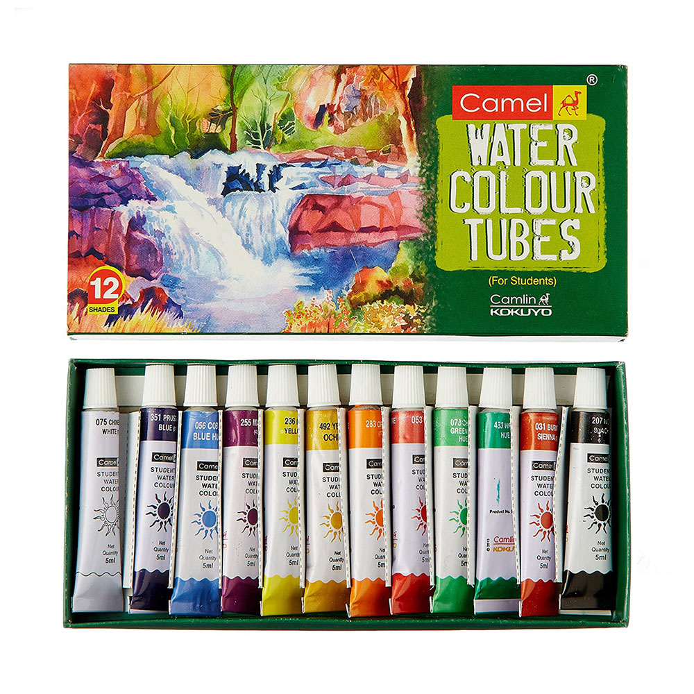 Camel Water Colour Tubes for Students (Box of 12 Shades Colors)