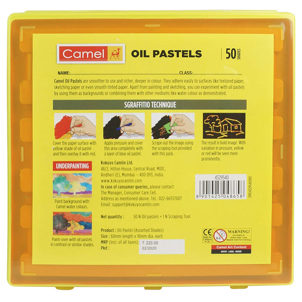 Camel Oil Pastel with Reusable Plastic (Box of 50 Shades Colors)