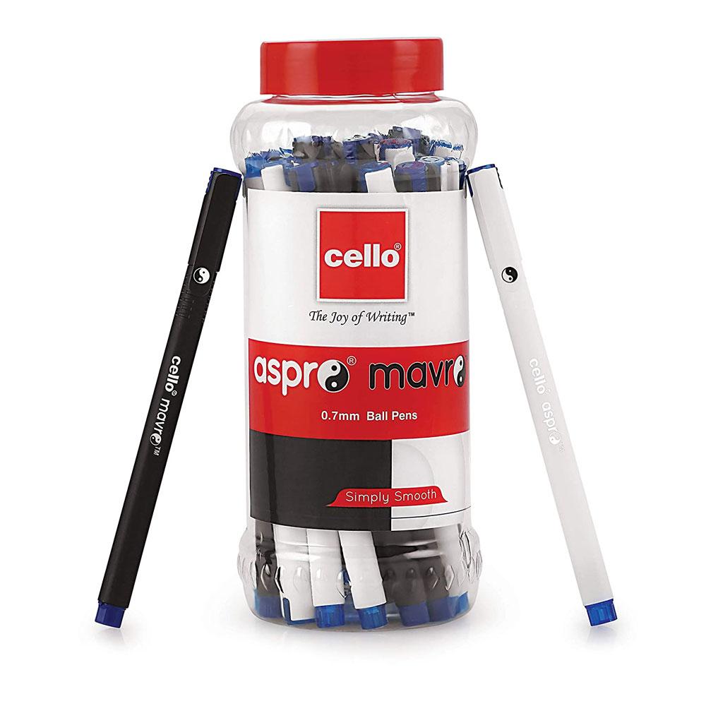 Cello Aspro Mavro Ball Pen (Jar of 25 Blue Pens)