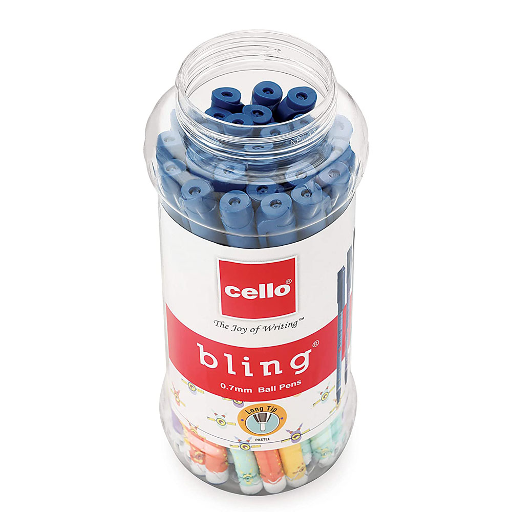 Cello Bling Pastel Ball Pens (Jar of 25 Blue Pens)