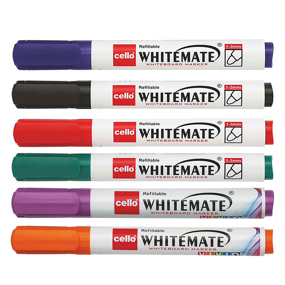 Cello Whitemate Whiteboard Markers Pen (Set of 6 Multicolored Pens)