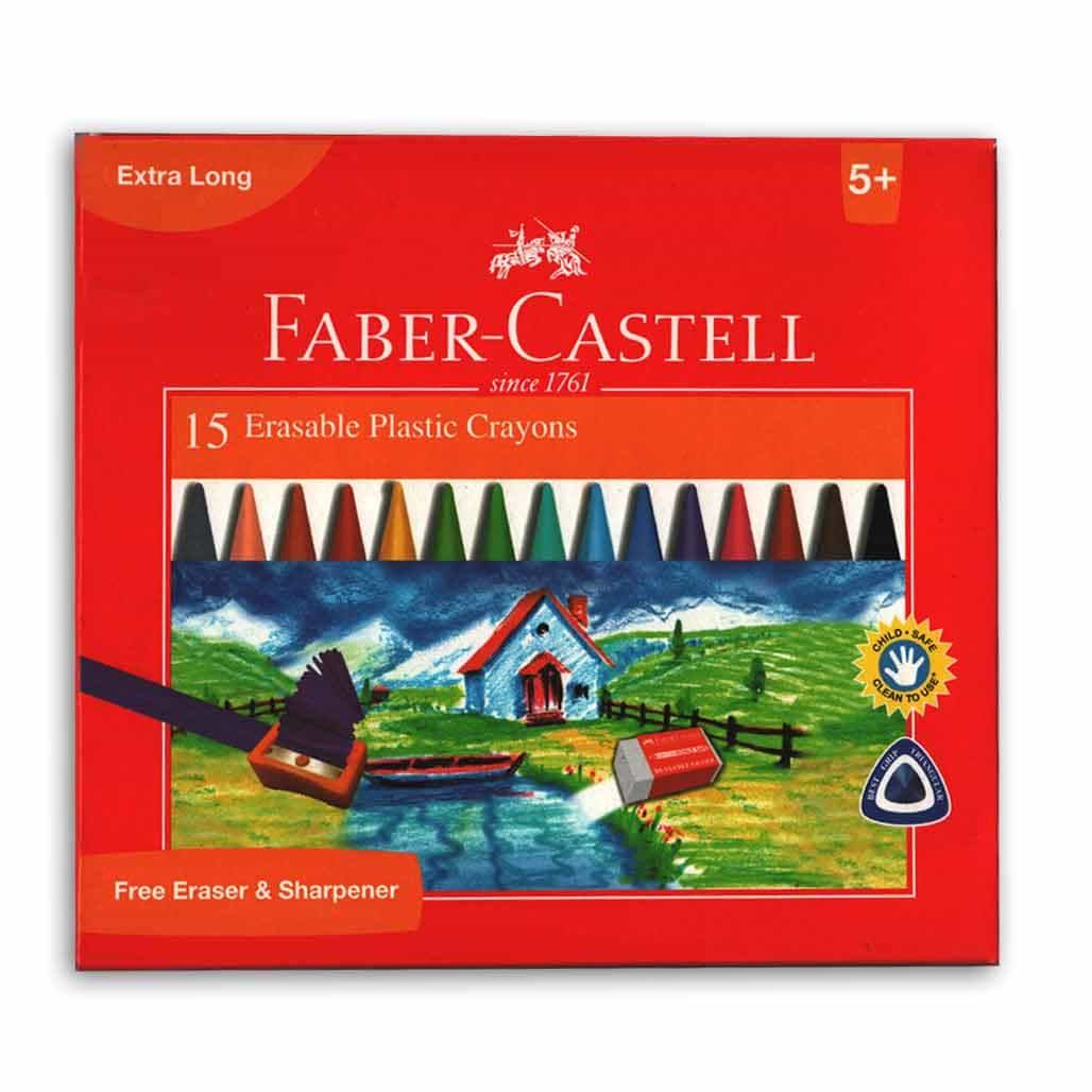 Faber Castell Erasable Plastic Crayons - 15 Shades