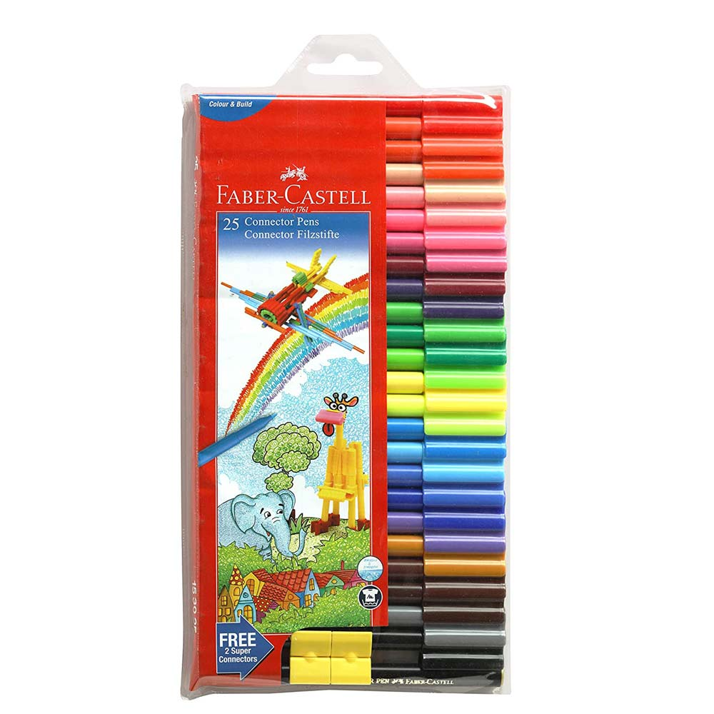 Faber-Castell Connector Pen Set (Pack of 25 Assorted Colors)