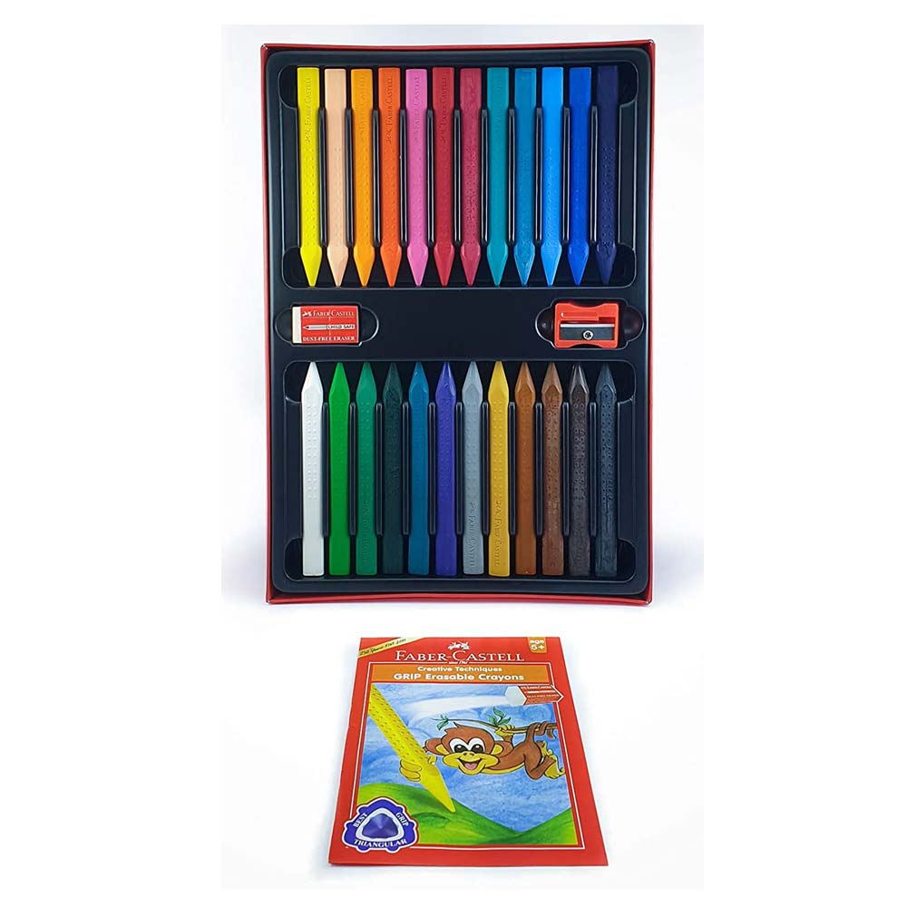 Faber-Castell Grip Erasable Crayon Set (Pack of 24 Colors)