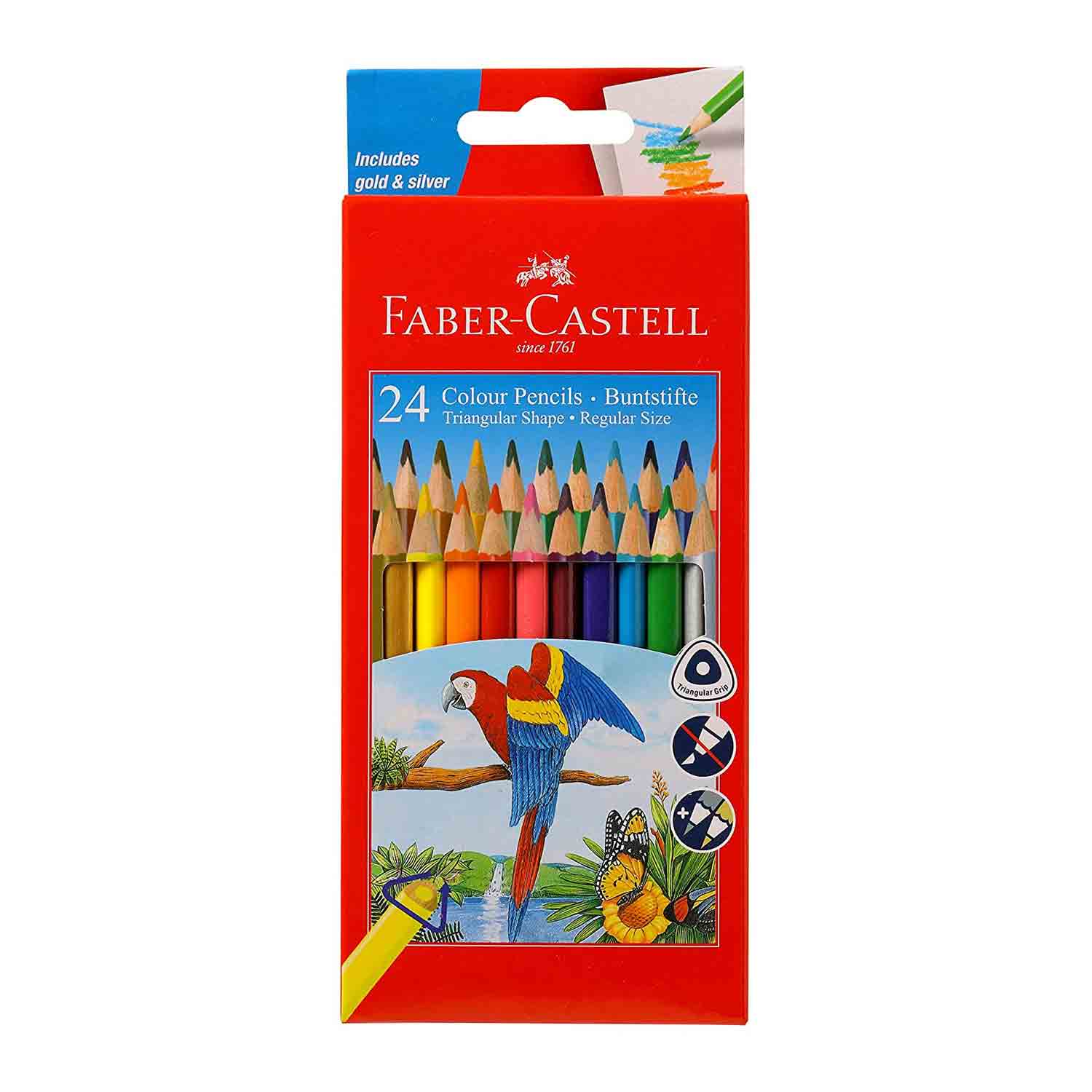 Faber-Castell Triangular Colour Pencils (Pack of 24 Coloured)