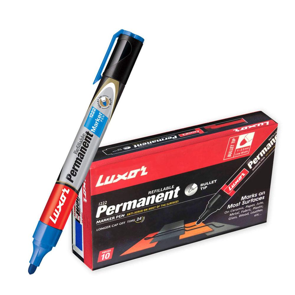 Luxor 1222 Refillable Permanent Marker (Box of 10 Blue Pens)