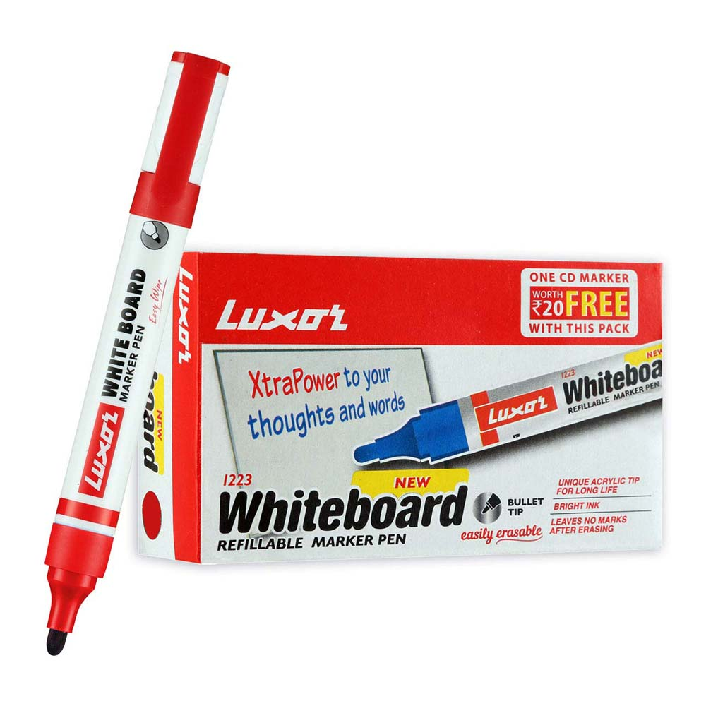 Luxor 1223 Whiteboard Refillable Red Marker (Box of 10 Pens)