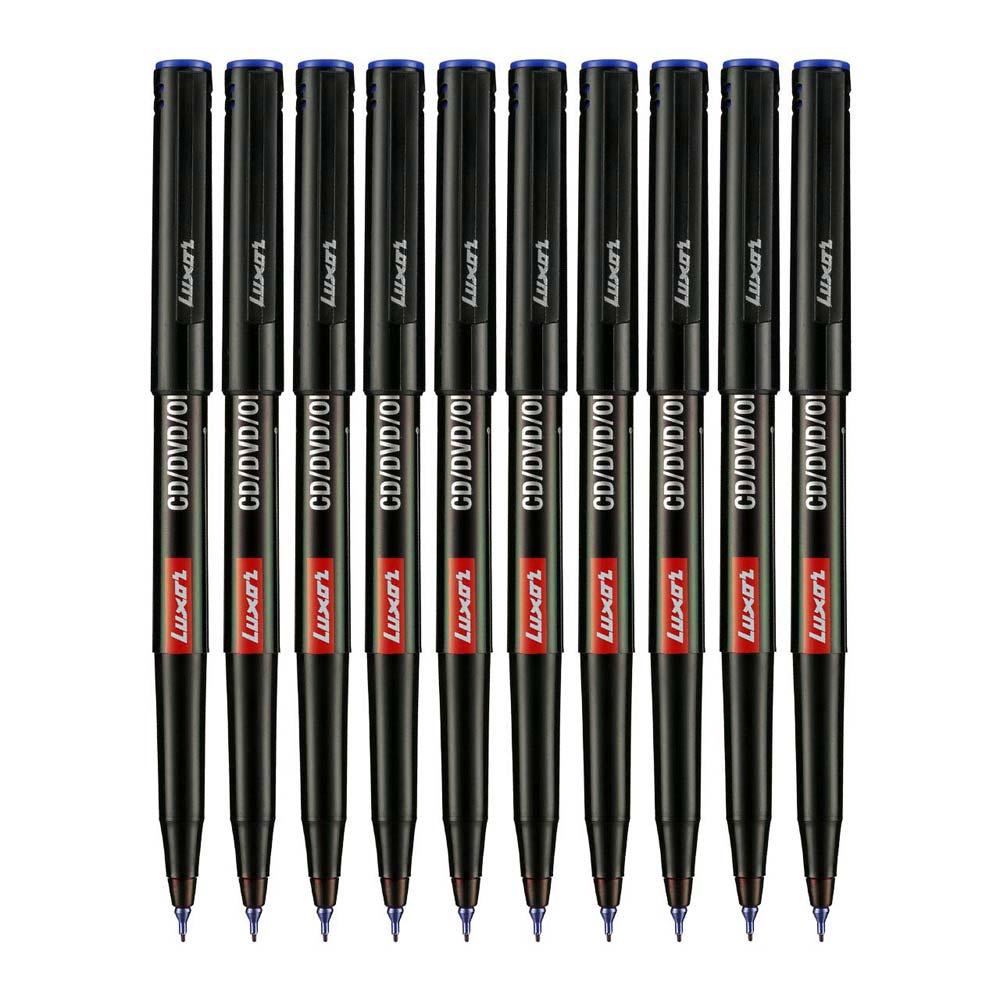 Luxor 1236 CD/DVD/OHP Marker (Box of 10 Blue Pens)