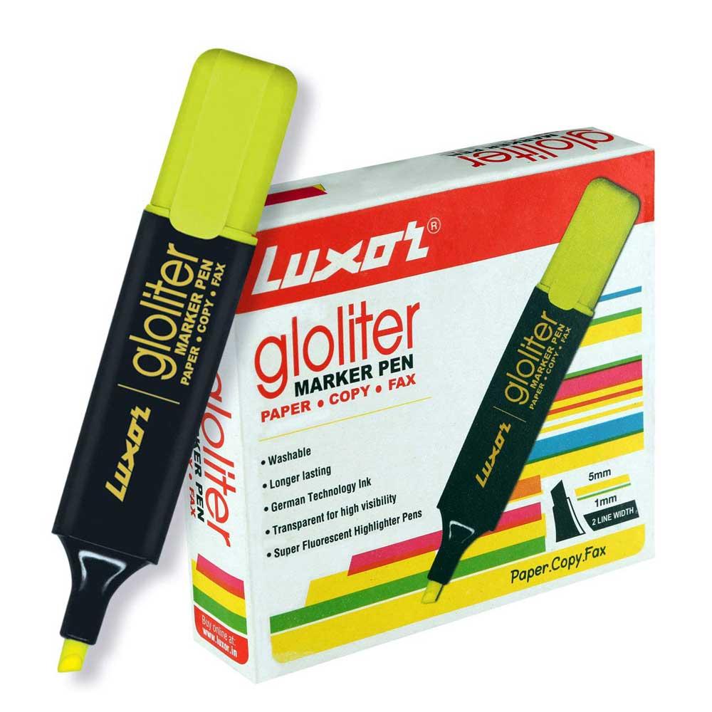 Luxor 887 N Highlighter (Box of 10 Yellow Pens)
