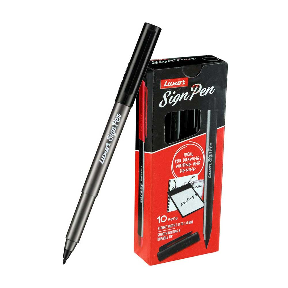 Luxor Sign Pen (Box of 10 Black Pens)