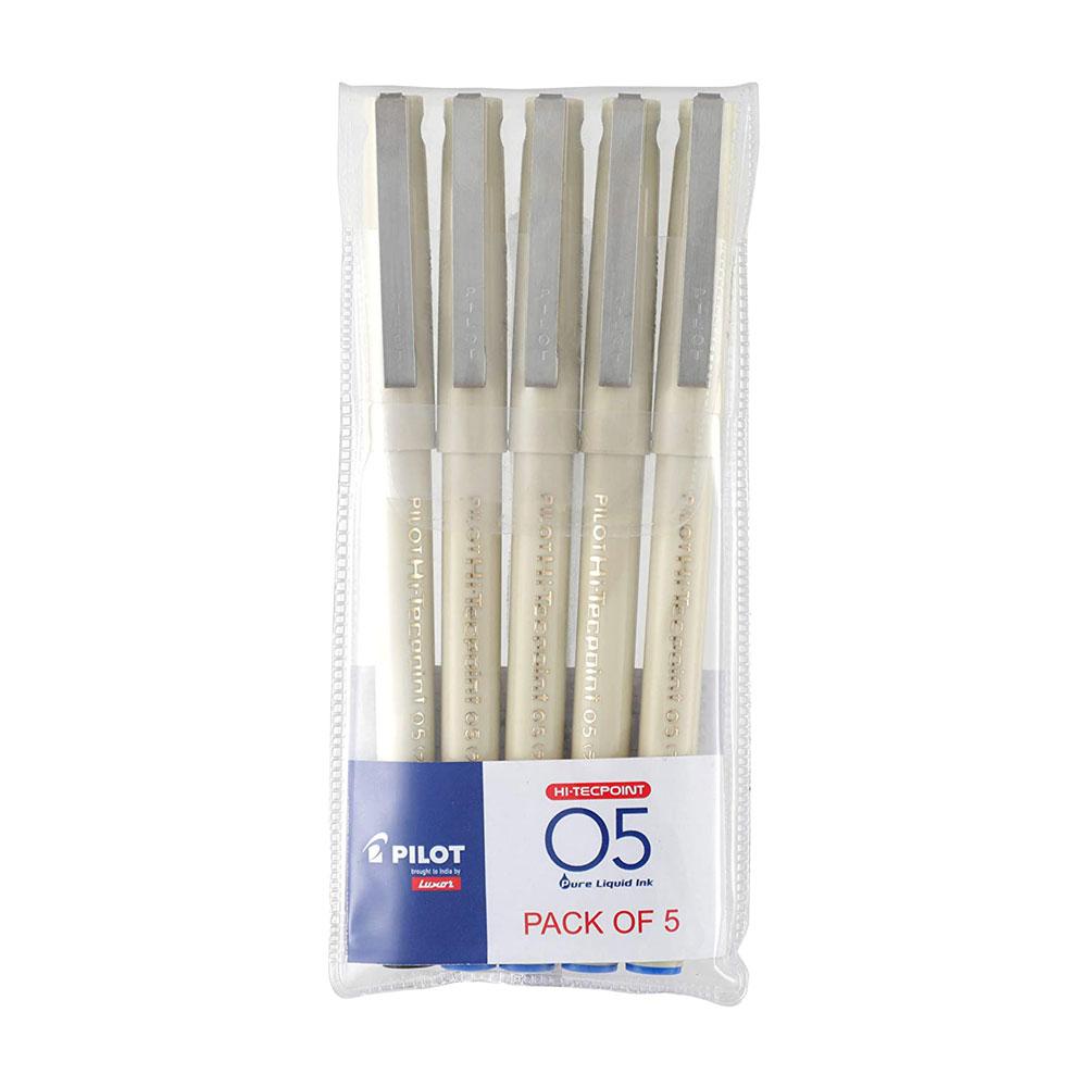 Pilot O5 Roller Ball Pen Pack of 5 (4 Blue + 1 Black Pens)