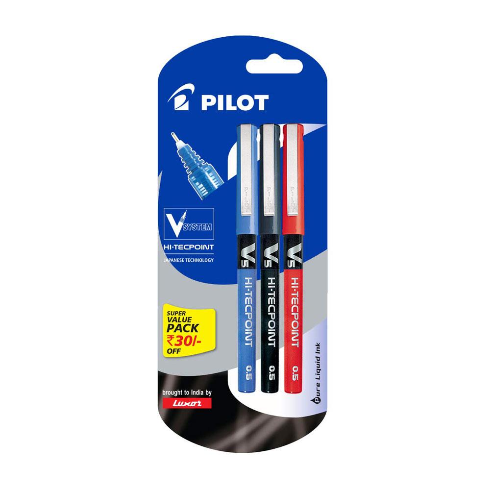 Pilot V5 Liquid Ink Roller Ball Pen Pack of 3 (1 Blue + 1  Black + 1 Red)