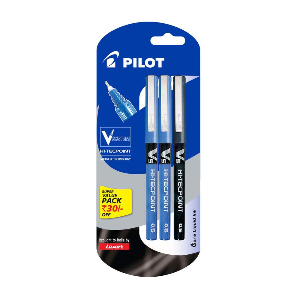 Pilot V5 Liquid Ink Roller Ball Pen Pack of 3 (1 Black and 2 Blue Pens)