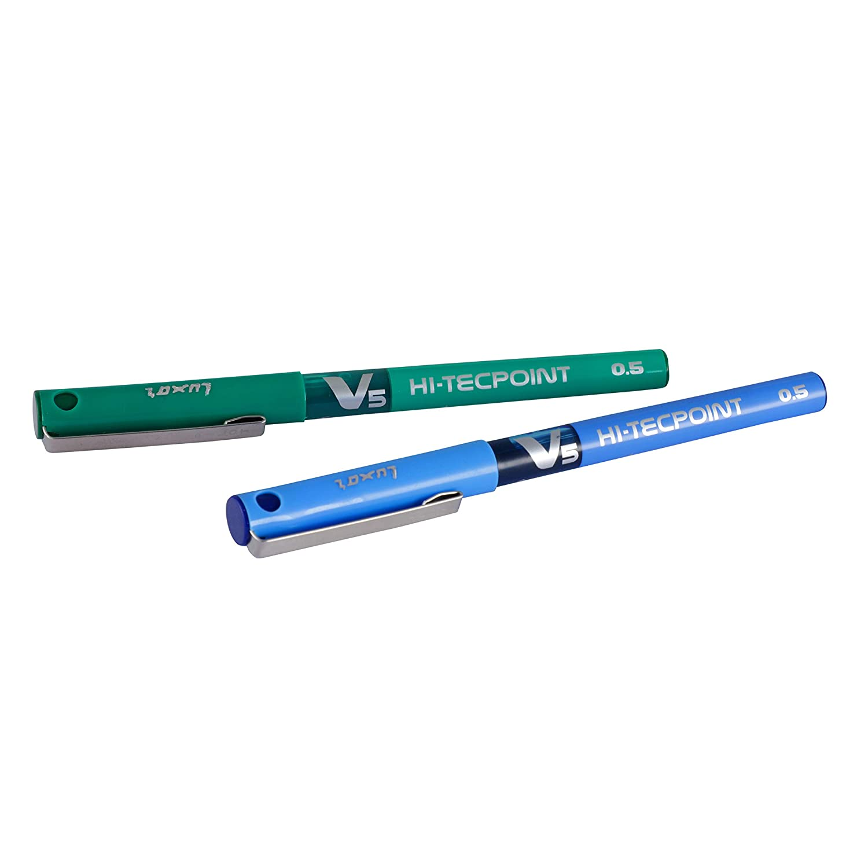 Pilot V5 Roller Ball Pen Pack of 5 (1 Green and 4 Blue Pens)