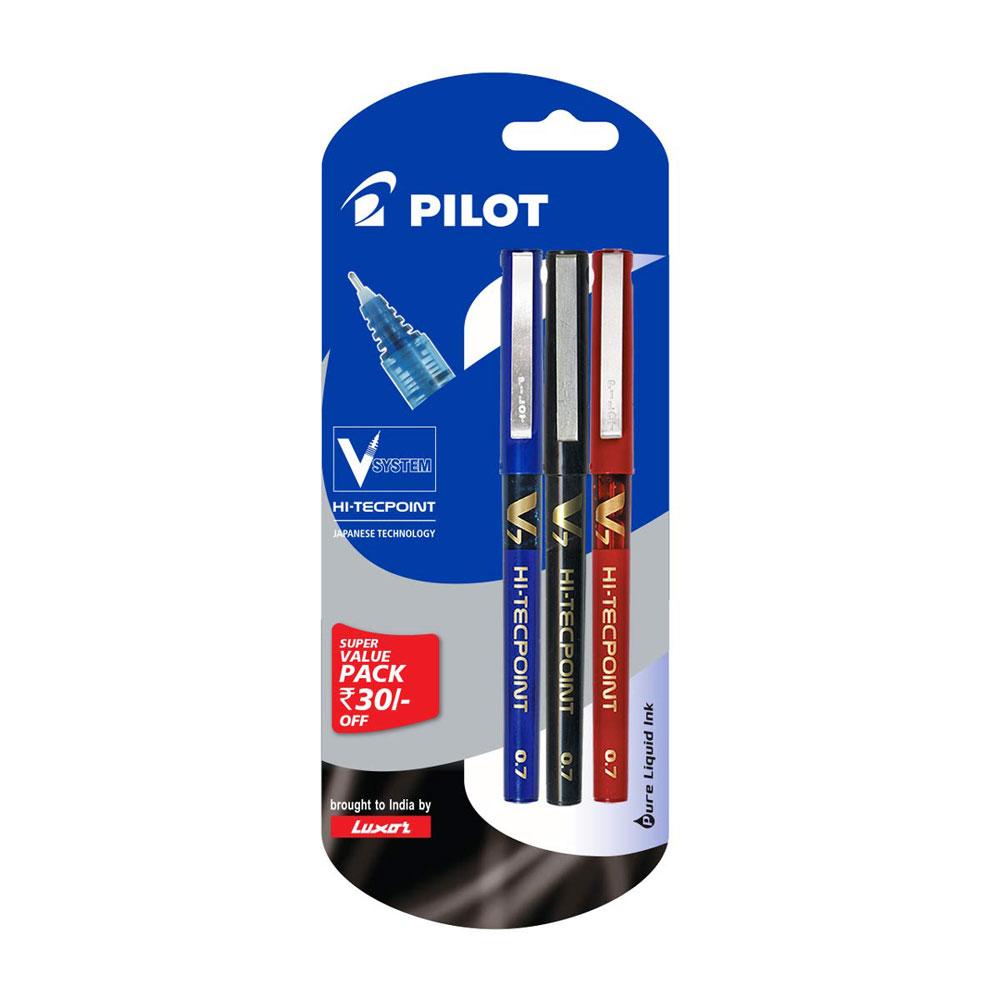 Pilot V7 Liquid Ink Roller Ball Pen Pack of 3 (1 Blue + 1 Black + 1 Red)