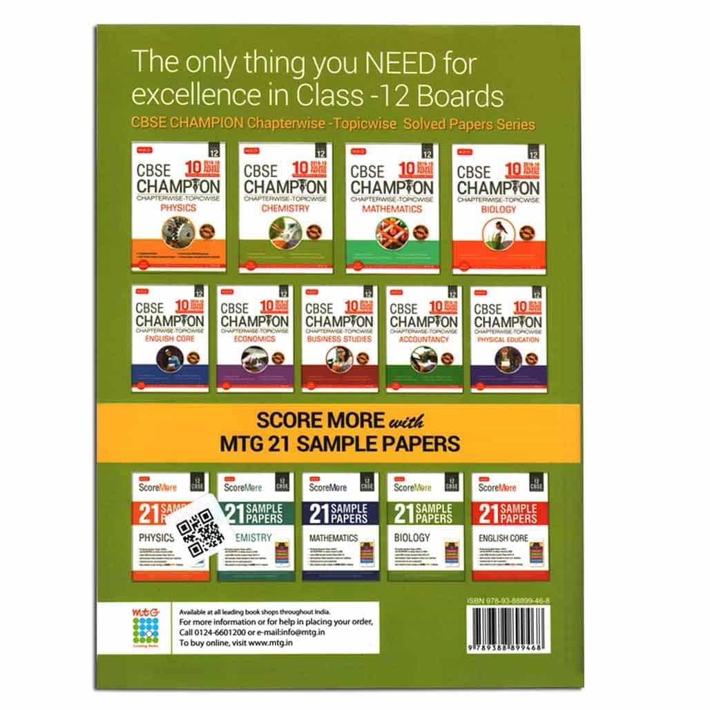MTG CBSE Champion 2019-10 Solved Papers - Chemistry - Class 12
